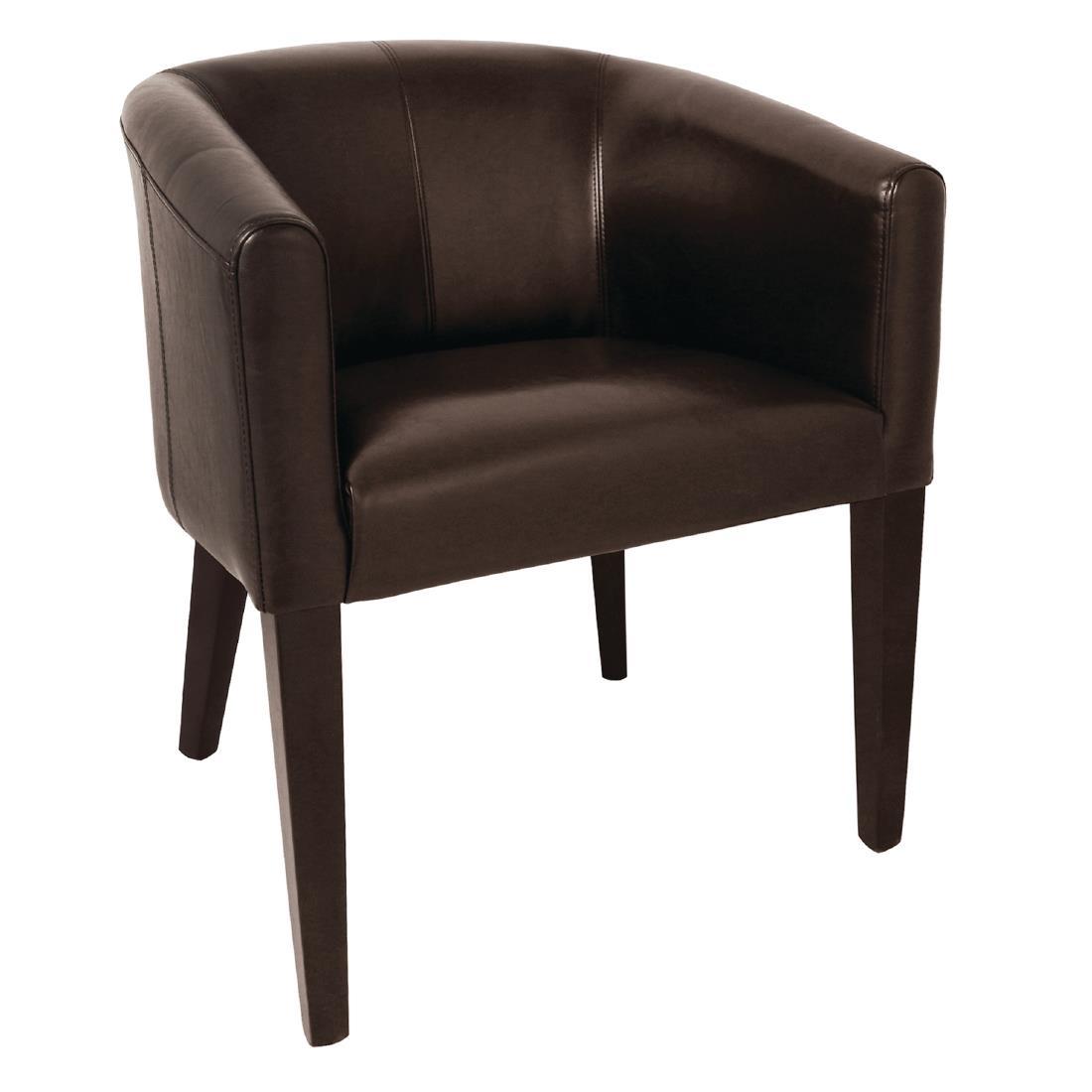 Faux Leather Tub Armchair - Dark Brown