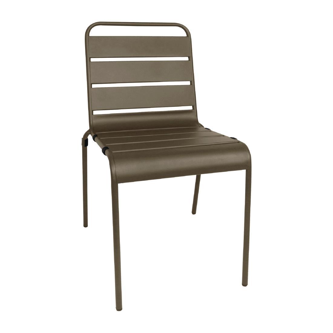 Slatted Steel Chair - Coffee
