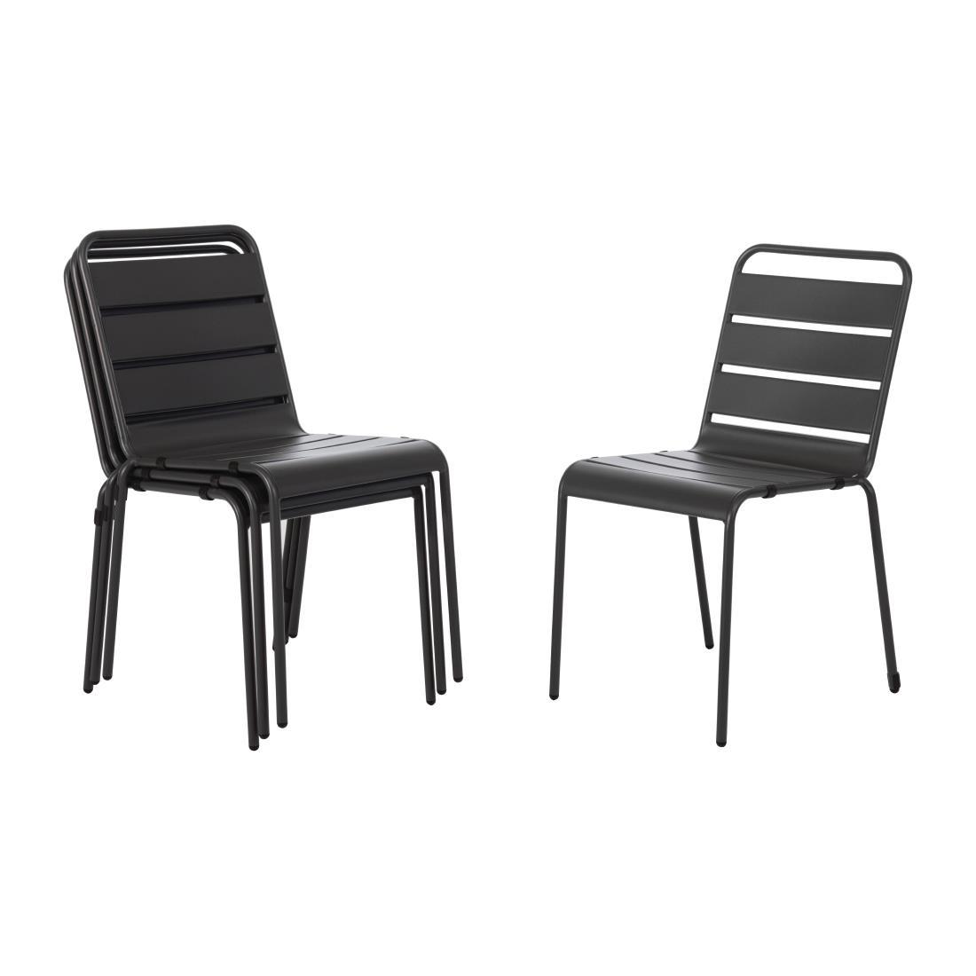 Slatted Steel Chair - Grey
