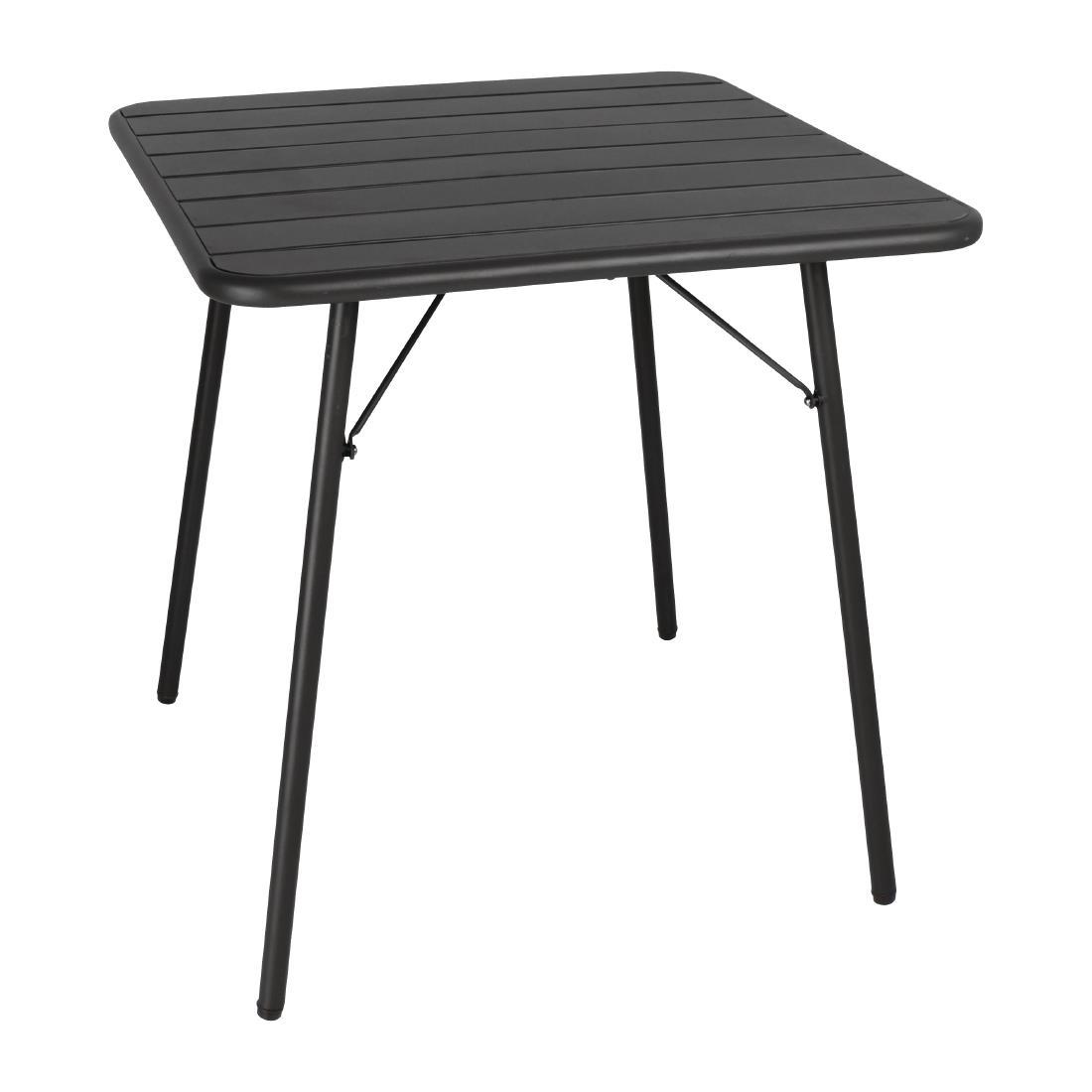 Slatted Steel Table - Black