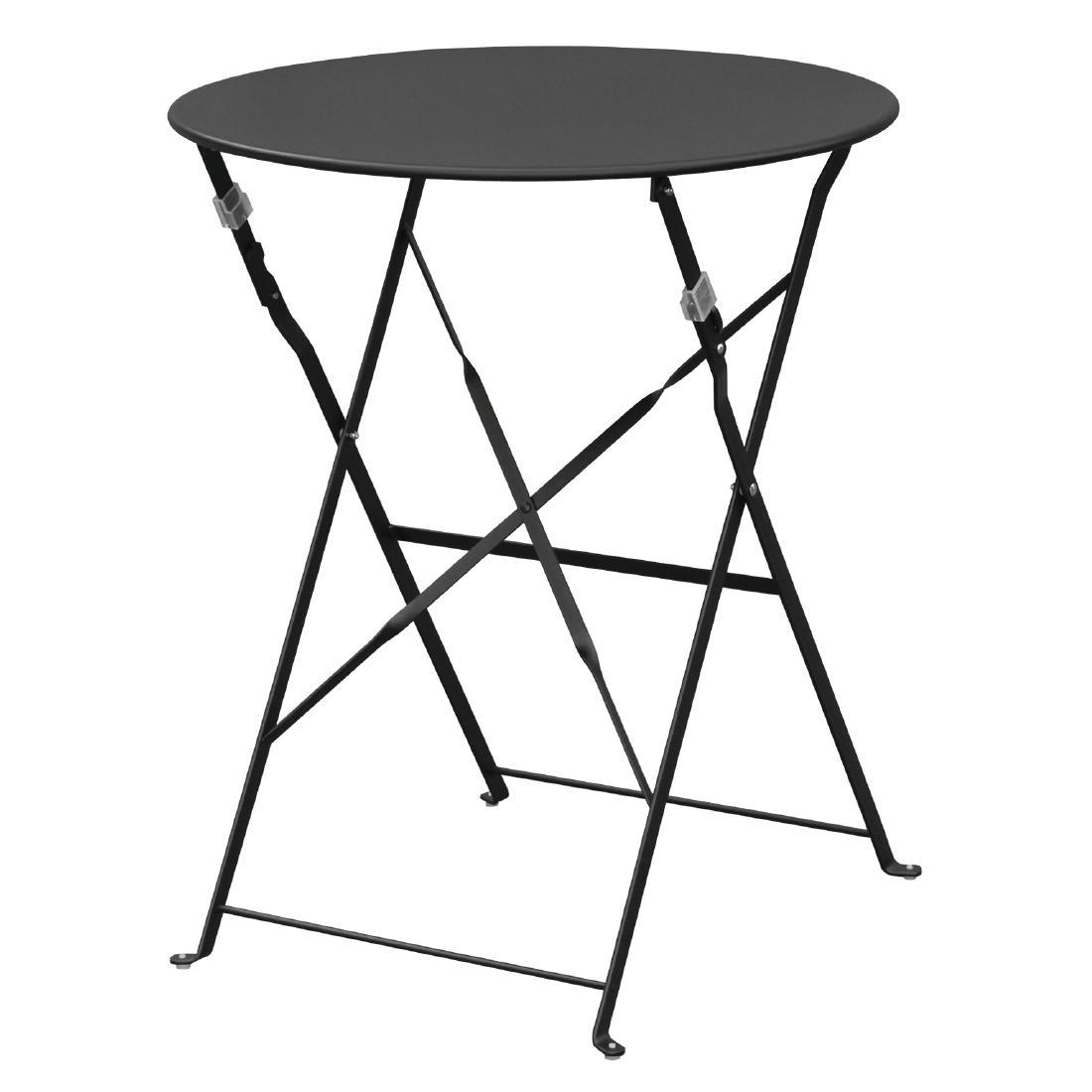 Steel Folding Table Round - Black