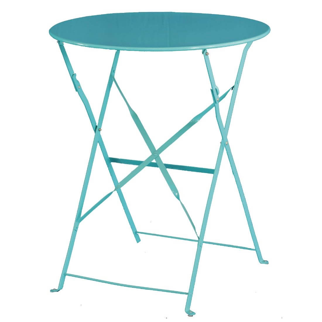 Steel Folding Table Round - Blue