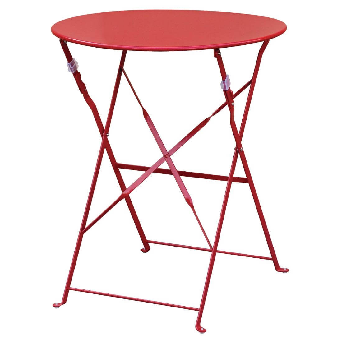 Steel Folding Table Round - Red