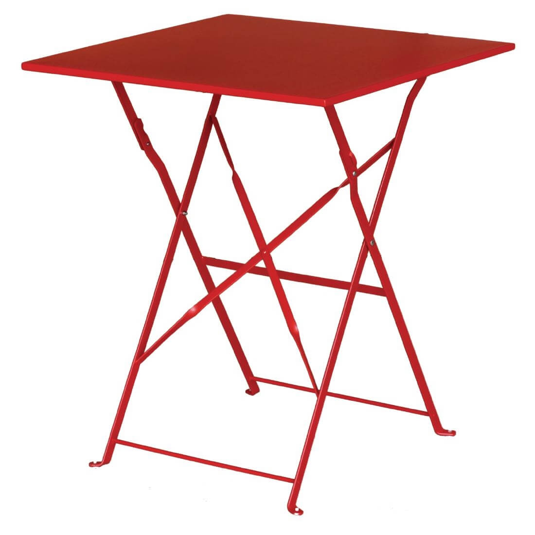 Steel Folding Table Square - Red