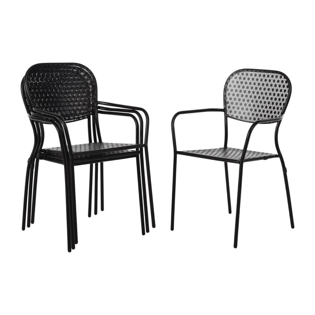 Steel Patterned Chair - Black or Grey