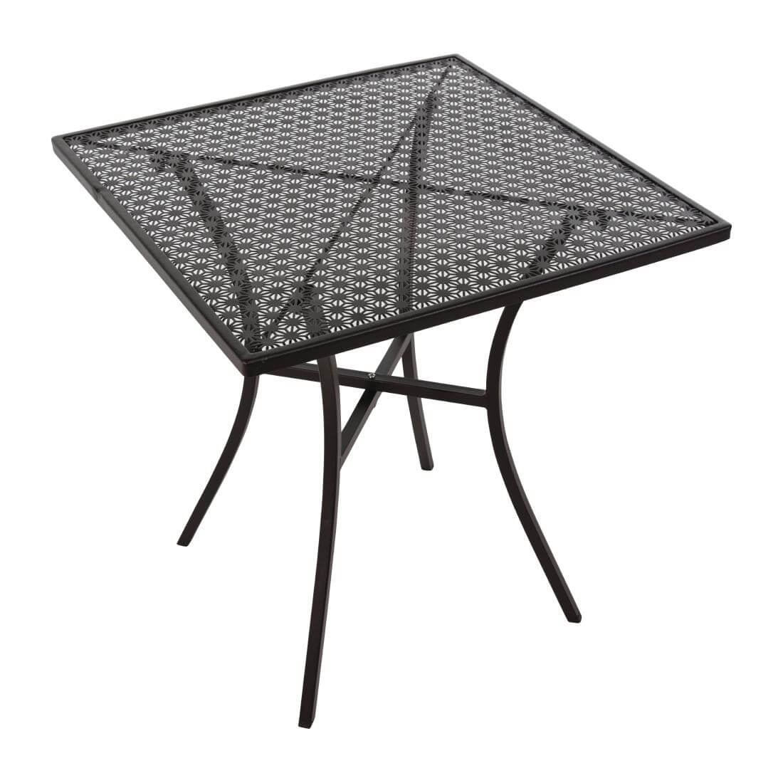 Steel Patterned Square Table - Black