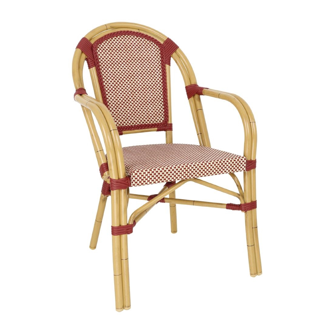 Wicker Armchair CP4 - Red + Cream