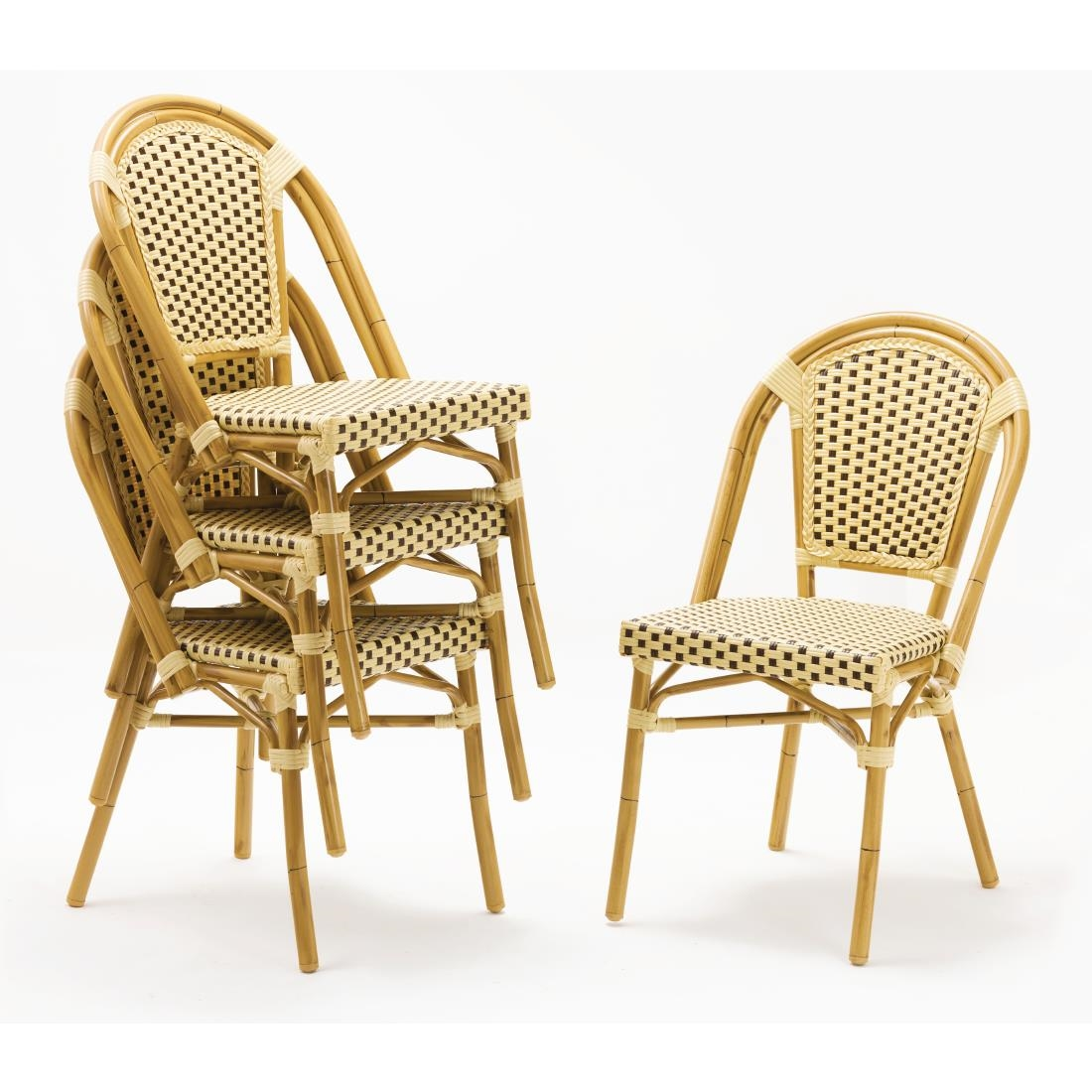 Wicker Side Chair CF40 - Brown + Cream