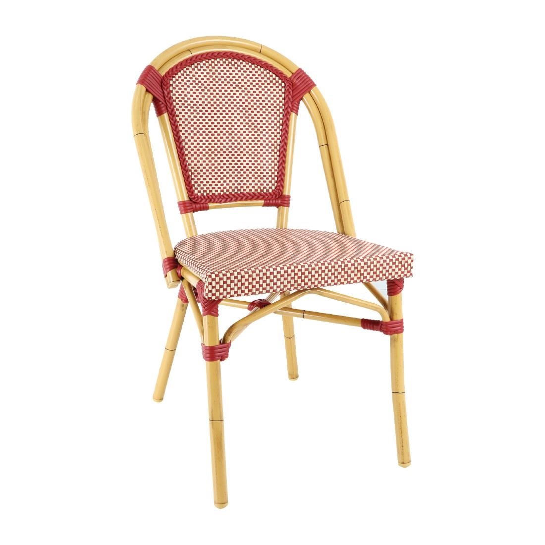 Wicker Side Chair CP4 - Red + Cream