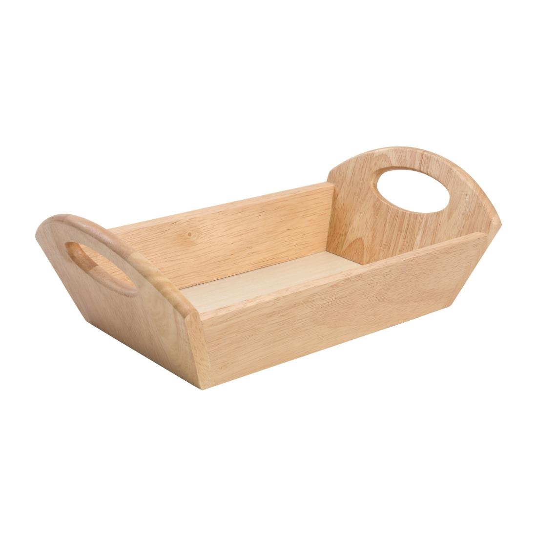 Hevea Wood Bread Basket with Handles