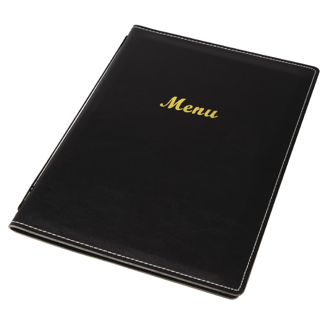 Olympia Faux Leather Menu Cover Black