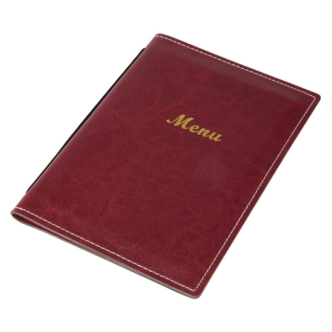 Olympia Faux Leather Menu Cover Burgundy