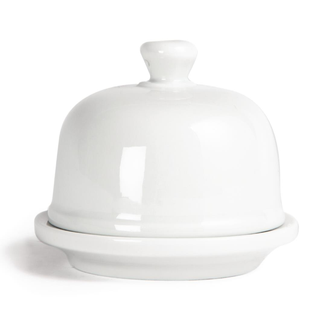 Olympia Whiteware Butter Dish with Cloche 50ml 1.8oz