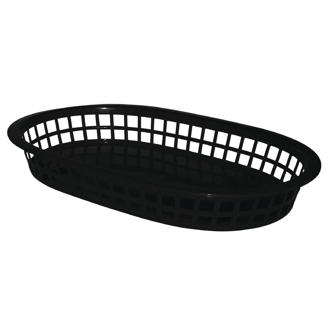 Oval Polypropylene Food Basket Black