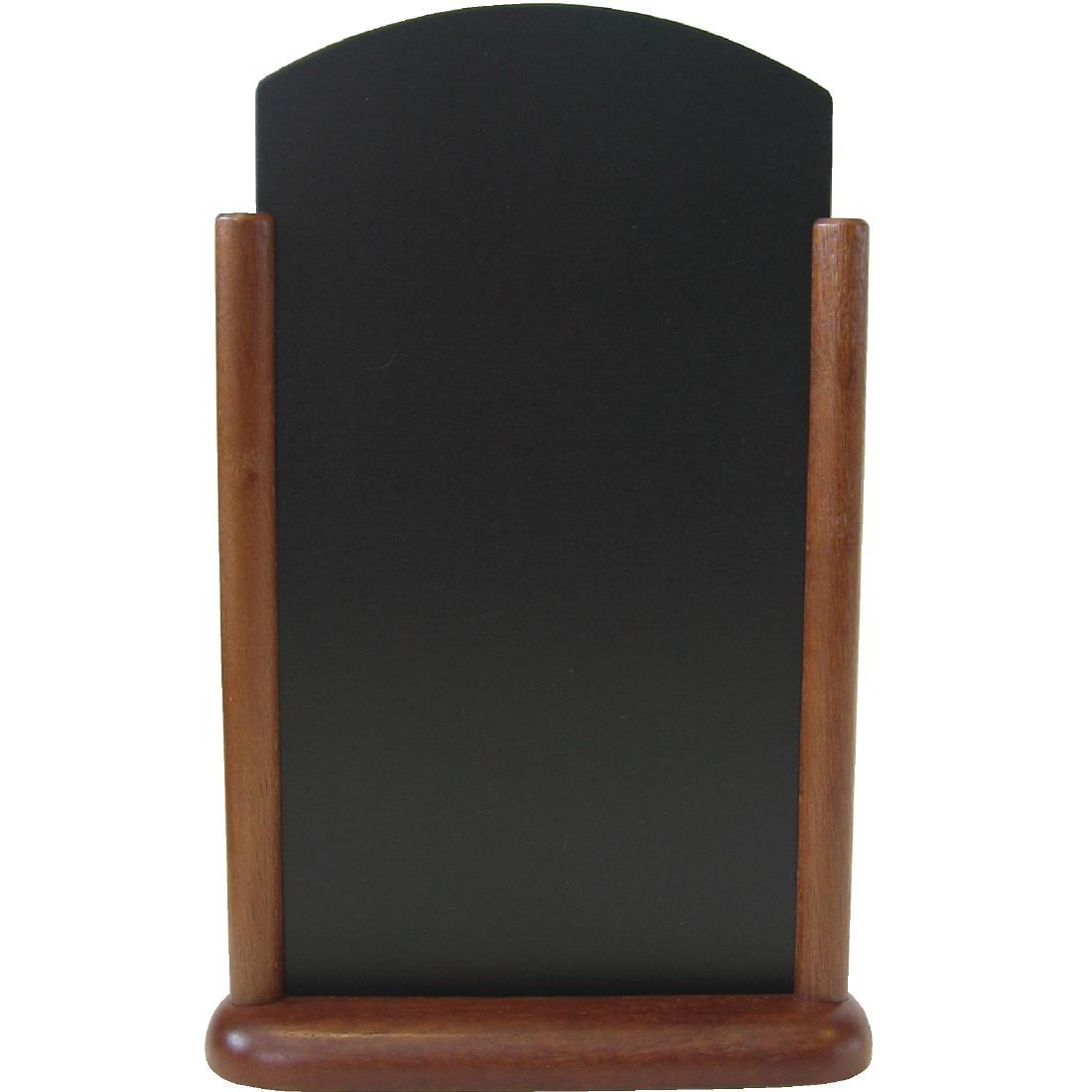 Securit Pillared Table Top Blackboard Mahogany