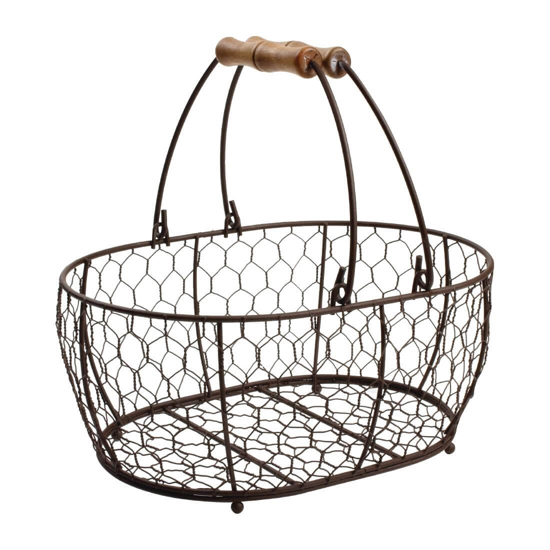 T&G Provence Wire Oval Basket with Handles Brown